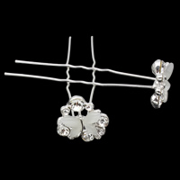Hair Pins, Zinc Alloy, with iron pin & Cats Eye, Butterfly, silver color plated, with rhinestone, nickel, lead & cadmium free, 19x66mm, 20PCs/Bag, Sold By Bag