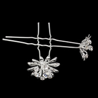 Hair Pins, Zinc Alloy, with iron pin, Flower, silver color plated, with rhinestone, nickel, lead & cadmium free, 23x68mm, 20PCs/Bag, Sold By Bag