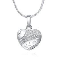 Gets® Jewelry Necklace, Brass, Heart, platinum plated, snake chain & micro pave cubic zirconia, nickel, lead & cadmium free, 14x18mm, Length:Approx 17.5 Inch, Sold By Strand