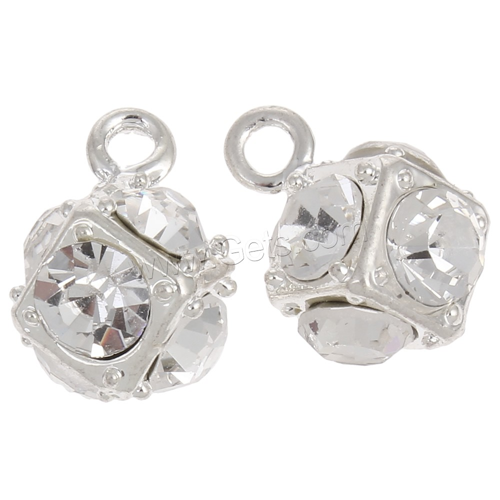 Zinc alloy rhinestone pendants silver color plated with
