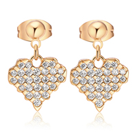 Gets® Jewelry Earring, Brass, Heart, 18K gold plated, micro pave cubic zirconia, nickel, lead & cadmium free, 12x14mm, Sold By Pair