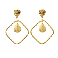 Gets® Jewelry Earring, Brass, Rhombus, 18K gold plated, flower cut, nickel, lead & cadmium free, 44x62mm, Sold By Pair