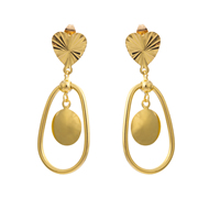 Gets® Jewelry Earring, Brass, Oval, 18K gold plated, flower cut, nickel, lead & cadmium free, 15x43mm, Sold By Pair