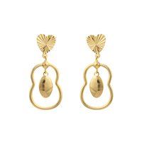 Gets® Jewelry Earring, Brass, Calabash, 18K gold plated, flower cut, nickel, lead & cadmium free, 28x51mm, Sold By Pair