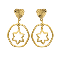 Gets® Jewelry Earring, Brass, Oval, 18K gold plated, flower cut, nickel, lead & cadmium free, 29x47mm, Sold By Pair