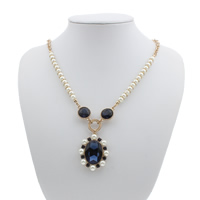 Zinc Alloy Sweater Chain Necklace, with iron chain & Glass Pearl & Glass, with 6cm extender chain, Flower, gold color plated, oval chain & faceted & with rhinestone, nickel, lead & cadmium free, 32x41x8mm, Length:Approx 31 Inch, Sold By Strand