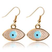 Evil Eye Earrings, Zinc Alloy, iron earring hook, gold color plated, Islamic jewelry & enamel, nickel, lead & cadmium free, 27x15mm, Sold By Pair
