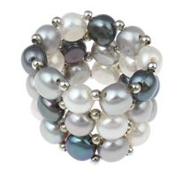Cultured Freshwater Pearl Finger Ring, Button, multi-colored, 5-6mm, 30x28x10mm, US Ring Size:16, Sold By PC