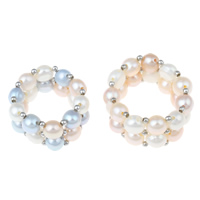 Cultured Freshwater Pearl Finger Ring, with Brass, Button, more colors for choice, 5-6mm, 30x13x10mm, US Ring Size:15.5, Sold By PC