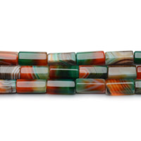 Natural Lace Agate Beads, Column, 9x20mm, Hole:Approx 2mm, Length:Approx 15.5 Inch, Approx 20PCs/Strand, Sold By Strand