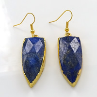 Gemstone Drop Earring, Brass, with Natural Lapis Lazuli, Teardrop, gold color plated, faceted, 16x40x8mm, 56mm, Sold By Pair