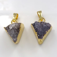 Natural Agate Druzy Pendant, Brass, with Ice Quartz Agate, Triangle, gold color plated, druzy style, 14-17x20-25x8-10mm, Hole:Approx 5x7mm, Sold By PC