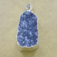 Natural Agate Druzy Pendant, Brass, with Ice Quartz Agate, Teardrop, silver color plated, druzy style, 18x36x12mm, Hole:Approx 5x7mm, Sold By PC