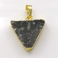 Natural Agate Druzy Pendant, Brass, with Ice Quartz Agate, Triangle, gold color plated, druzy style, 22.50x25x6mm, Hole:Approx 5x7mm, Sold By PC