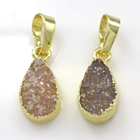Natural Agate Druzy Pendant, Brass, with Ice Quartz Agate, Teardrop, gold color plated, druzy style, mixed colors, 7-10x13-19x4-5mm, Hole:Approx 5x7mm, Sold By PC