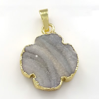 Natural Agate Druzy Pendant, Brass, with Ice Quartz Agate, Flower, gold color plated, druzy style, 20x25x6mm, Hole:Approx 5x6.5mm, Sold By PC