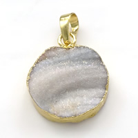 Natural Agate Druzy Pendant, Brass, with Ice Quartz Agate, Flat Oval, gold color plated, druzy style, 20x24.50x7mm, Hole:Approx 5x7mm, Sold By PC