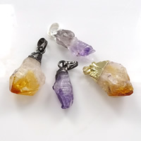 Natural Quartz Pendants, Brass, with Quartz, plated, mixed, 10-12x28-35x6-20mm, Hole:Approx 5x7mm, Sold By PC