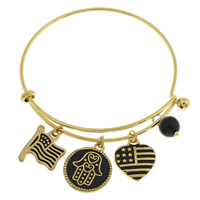 Hamsa Bracelets, Stainless Steel, with Glass, gold color plated, united states flag pattern & charm bracelet & Islamic jewelry & enamel, 14x17x2mm, 17x20x2mm, 15x17x2.5mm, Inner Diameter:Approx 56mm, Length:Approx 7 Inch, Sold By PC