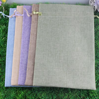 Linen Jewelry Pouches, with Satin Ribbon, Rectangle, different size for choice, mixed colors, Sold By PC