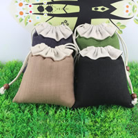 Linen Jewelry Pouches, with Cotton & Wood, mixed colors, 130x140mm, Sold By PC