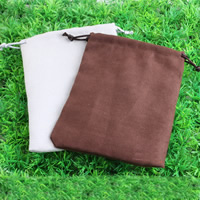 Suede Drawstring Pouches, with Nylon Cord, different size for choice, mixed colors, Sold By PC