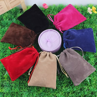 Velvet Jewelry Pouches, Velveteen, with Nylon Cord, different size for choice, mixed colors, Sold By PC
