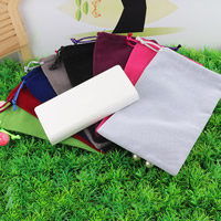 Velvet Jewelry Pouches, Velveteen, with Nylon Cord, mixed colors, 120x180mm, Sold By PC