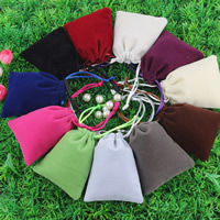 Velvet Jewelry Pouches, Velveteen, with Nylon Cord, mixed colors, 80x100mm, Sold By PC