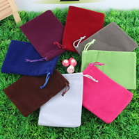 Velvet Jewelry Pouches, Velveteen, with Nylon Cord, mixed colors, 100x140mm, Sold By PC