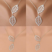 Fashion Multi Layer Necklace, Zinc Alloy, with iron chain, Leaf, plated, oval chain, more colors for choice, nickel, lead & cadmium free, 4x2.5cm, Length:Approx 16.5 Inch, Sold By Strand