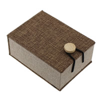 Linen Pendant Box, with Sponge & Wood, Rectangle, 76x105x45mm, Sold By PC