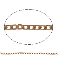 Brass Curb Chain, plated, more colors for choice, nickel, lead & cadmium free, 3.5x2x0.2mm, Sold By m