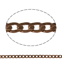 Brass Curb Chain, plated, more colors for choice, nickel, lead & cadmium free, 7.5x5x1mm, Sold By m