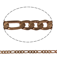 Brass Figaro Chain, plated, more colors for choice, nickel, lead & cadmium free, 14x6.5x1mm, Sold By m