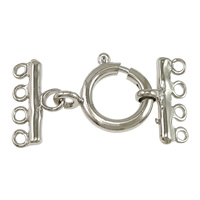 Brass Spring Ring Clasp, platinum color plated, with connector bar & 4-strand, 30x15.5x2mm, 16.5x14.5x3mm, 9x15.5x2mm, Hole:Approx 1.5mm, Sold By Set