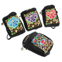 Mobile Phone Pouch, Cotton, with Iron, Rectangle, Embroidery, mixed colors, 160x90x100mm, Sold By PC