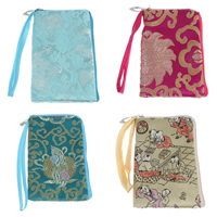 Mobile Phone Pouch, Silk, with Iron, Rectangle, mixed colors, 85x140x7mm, Sold By PC