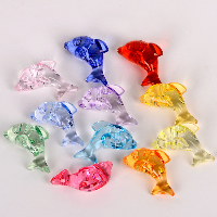 Acrylic Shank Button, Dolphin, transparent, mixed colors, 38mm, Sold By PC