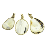 Moss Agate Pendants, with Iron, gold color plated, 30x50x6mm-40x55x7mm, Hole:Approx 8mm, Sold By PC