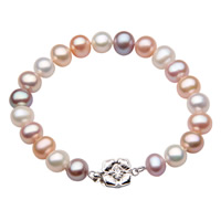 Cultured Freshwater Pearl Bracelets, brass box clasp, Potato, natural, multi-colored, 6-7mm, Length:Approx 7.5 Inch, Sold By Strand