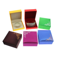 Satin Bracelet Box, Cardboard, with Satin & Velveteen, Rectangle, more colors for choice, 88x92x40mm, Sold By PC