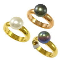 Cultured Freshwater Pearl Finger Ring, Stainless Steel, with Freshwater Pearl, natural, more colors for choice, 9.5x9.5x8mm, 4x2.5mm, US Ring Size:8, Sold By PC
