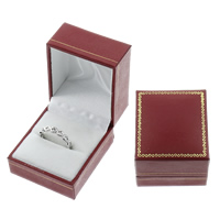 Leather Ring Box, Cardboard, with PU & Velveteen, Rectangle, red, 42x47x35mm, Sold By PC