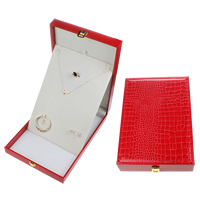 Leather Jewelry Set Box, Wood, finger ring & earring & necklace, with PU & Velveteen, Rectangle, red, 240x350x6mm, Sold By PC