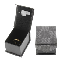 Leather Ring Box, Cardboard, with PU, Rectangle, stardust, 46x58x36mm, Sold By PC
