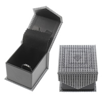 Leather Ring Box, Cardboard, with PU, Rectangle, 60x65x45mm, Sold By PC