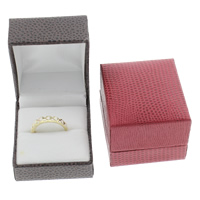 Leather Ring Box, Cardboard, with PU & Velveteen, Rectangle, more colors for choice, 42x48x35mm, Sold By PC