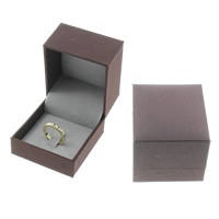Leather Ring Box, Cardboard, with PU, Rectangle, deep coffee color, 60x65x50mm, Sold By PC