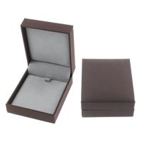Leather Necklace Box, Cardboard, with PU, Rectangle, deep coffee color, 70x80x30mm, Sold By PC
